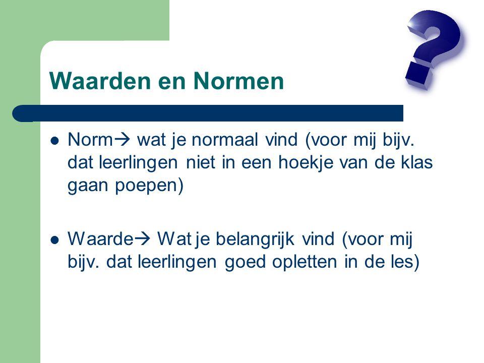 Waarden en Normen Norm wat je normaal vind (voor mij bijv. dat leerlingen niet in een hoekje van de klas gaan poepen)