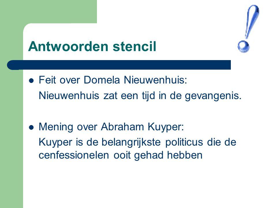 Antwoorden stencil Feit over Domela Nieuwenhuis: