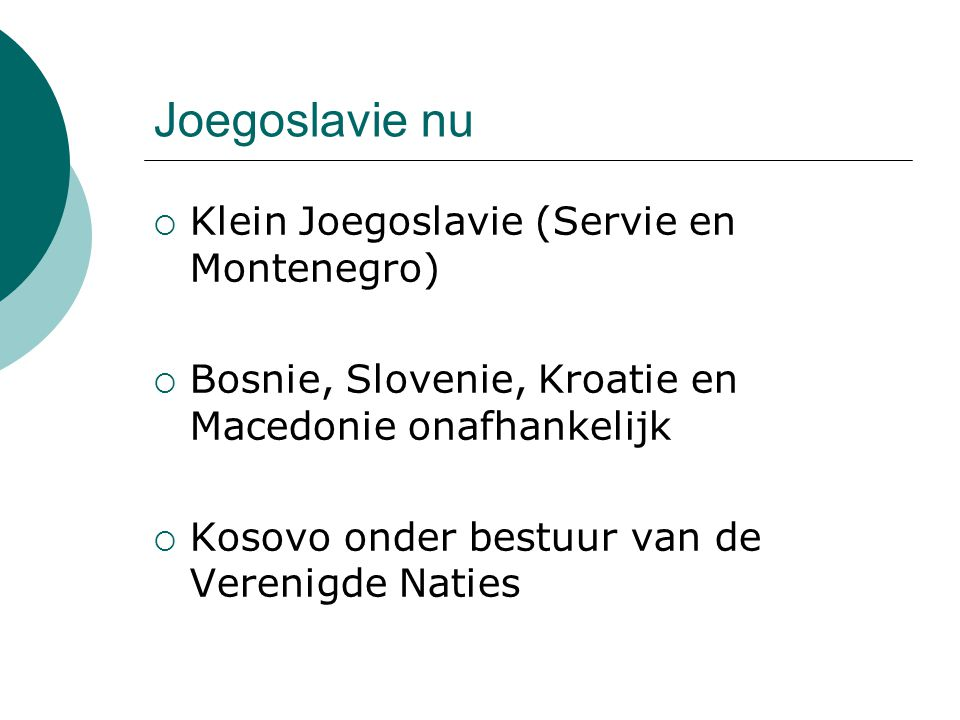Joegoslavie nu Klein Joegoslavie (Servie en Montenegro)