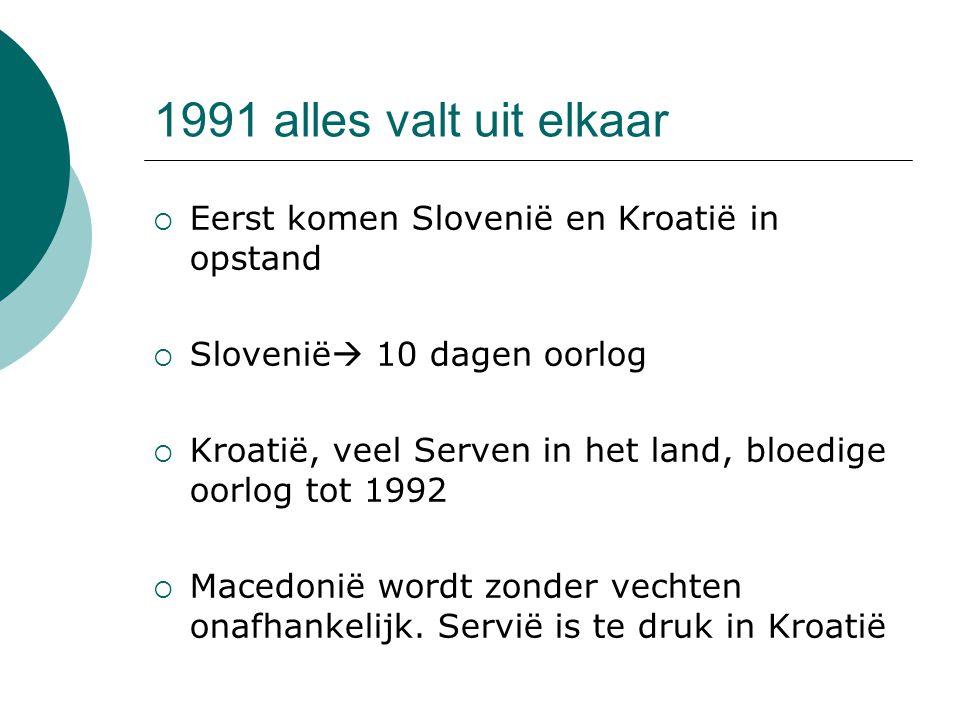 1991 alles valt uit elkaar Eerst komen Slovenië en Kroatië in opstand