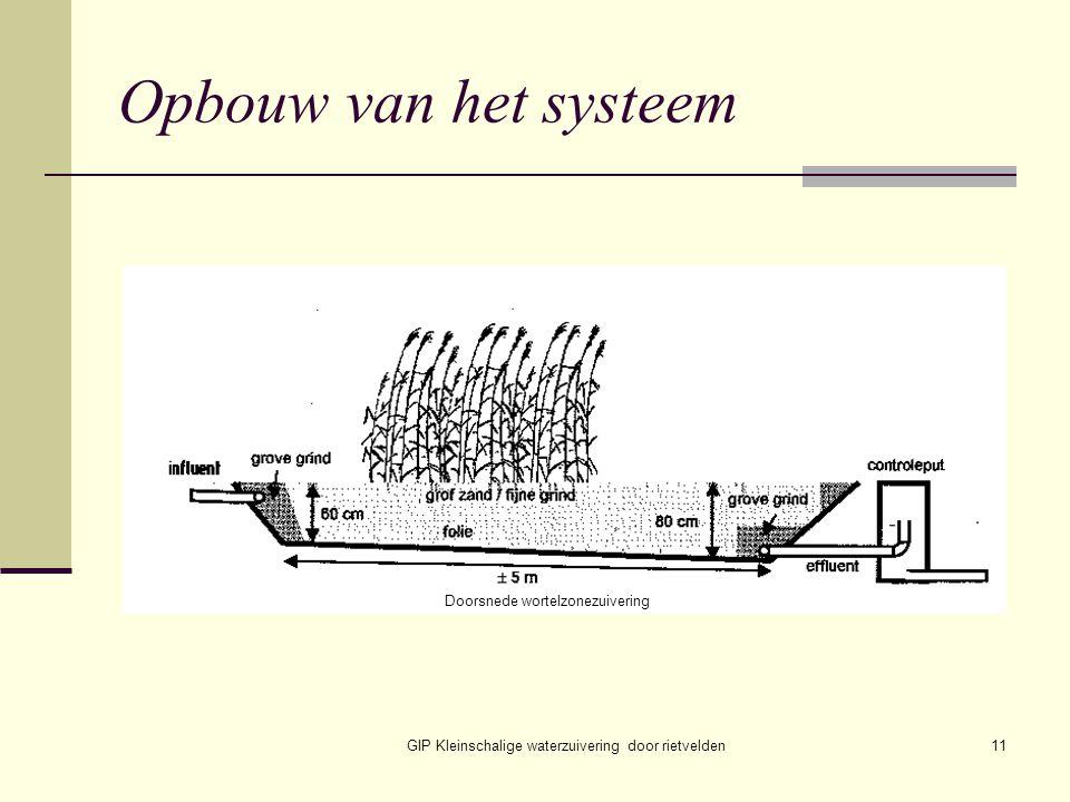 Opbouw van het systeem Doorsnede wortelzonezuivering