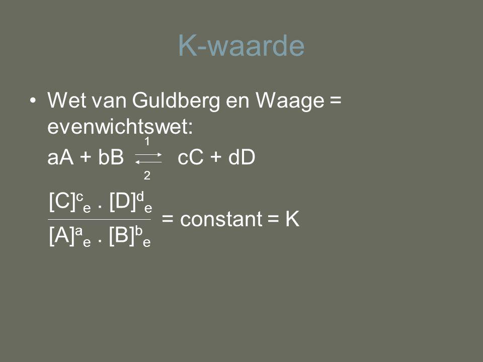 K-waarde Wet van Guldberg en Waage = evenwichtswet: aA + bB cC + dD
