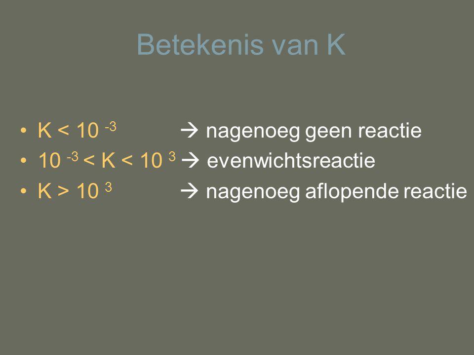 Betekenis van K K < 10 -3  nagenoeg geen reactie