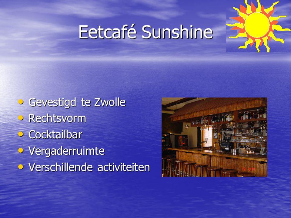 Eetcafé Sunshine Gevestigd te Zwolle Rechtsvorm Cocktailbar