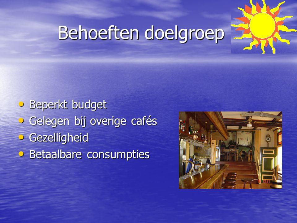 Behoeften doelgroep Beperkt budget Gelegen bij overige cafés