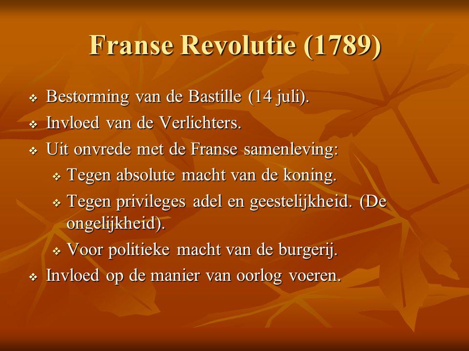 Franse Revolutie (1789) Bestorming van de Bastille (14 juli).