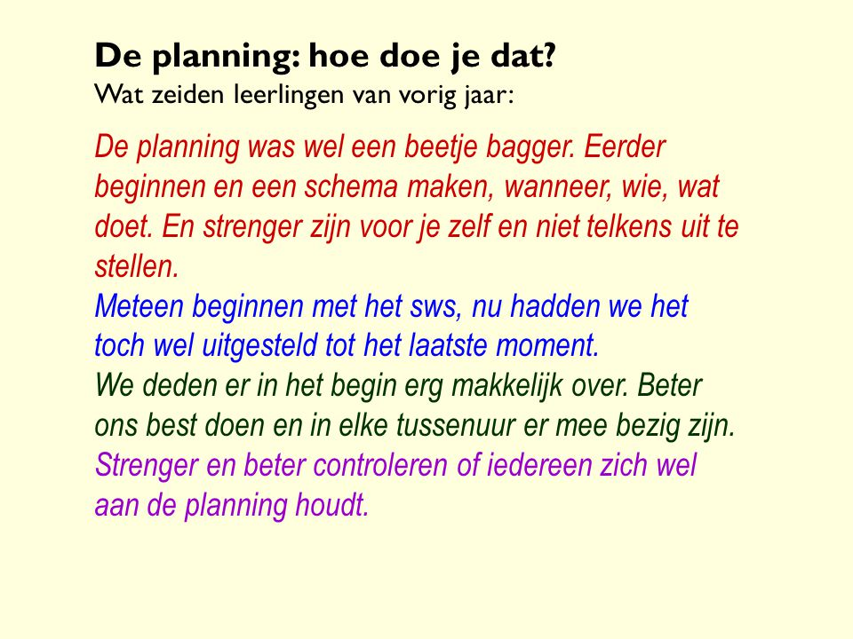 De planning: hoe doe je dat
