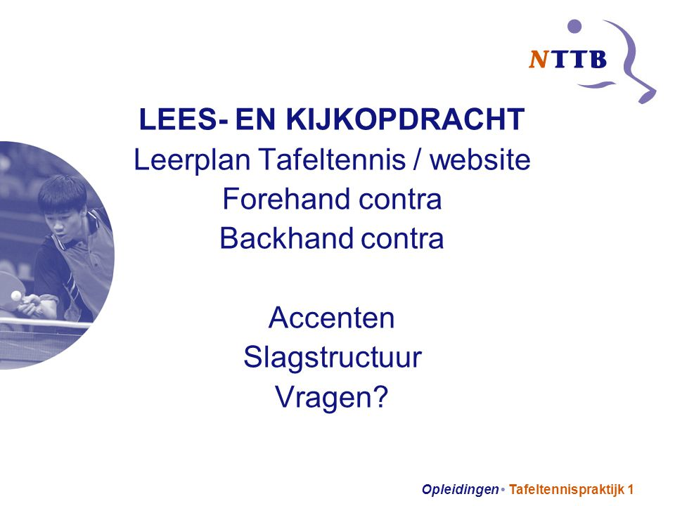 Leerplan Tafeltennis / website