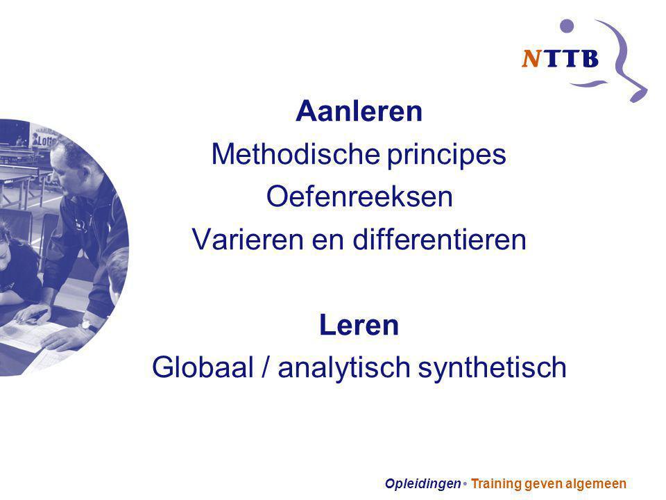 Methodische principes Oefenreeksen Varieren en differentieren Leren
