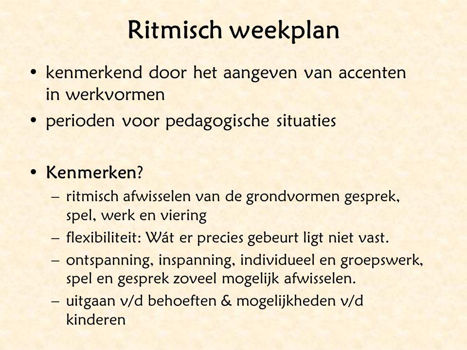 Ritmisch weekplan kenmerkend door het aangeven van accenten in werkvormen. perioden voor pedagogische situaties.