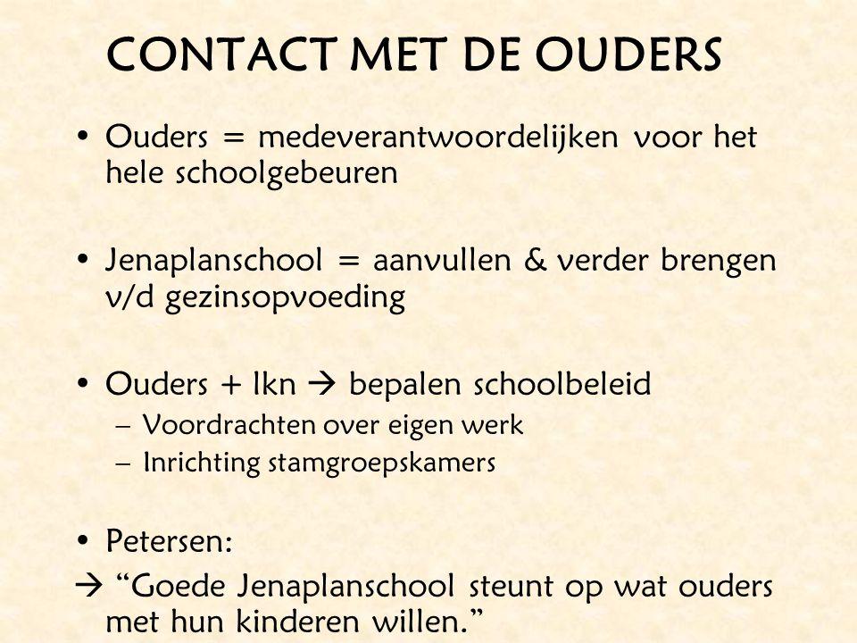 CONTACT MET DE OUDERS Ouders = medeverantwoordelijken voor het hele schoolgebeuren. Jenaplanschool = aanvullen & verder brengen v/d gezinsopvoeding.