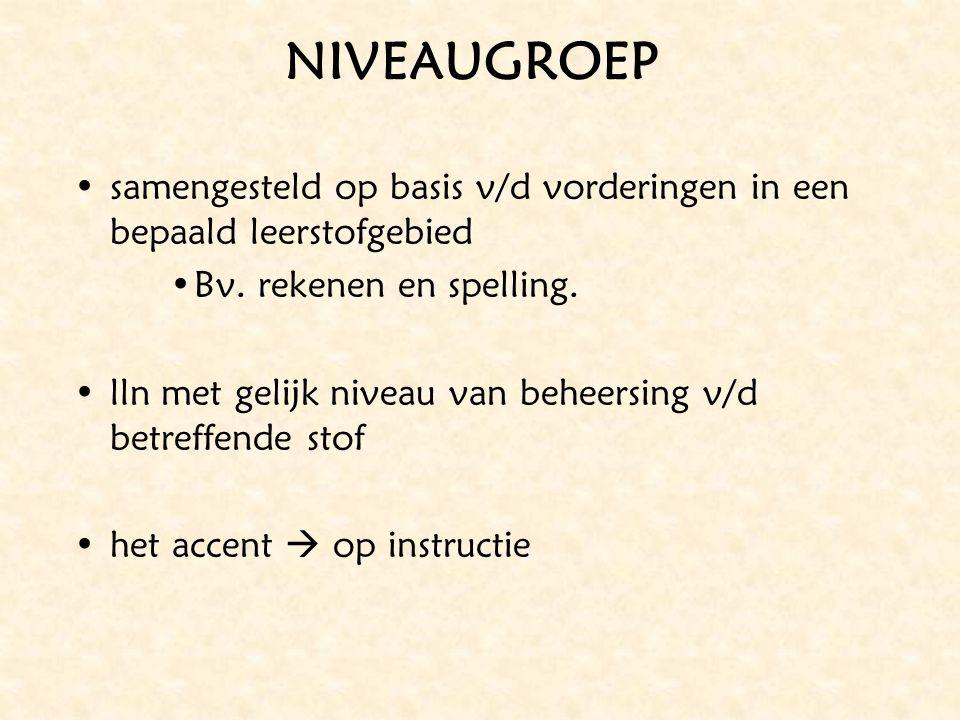 NIVEAUGROEP samengesteld op basis v/d vorderingen in een bepaald leerstofgebied. Bv. rekenen en spelling.