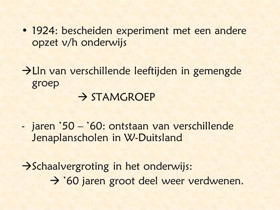 1924: bescheiden experiment met een andere opzet v/h onderwijs