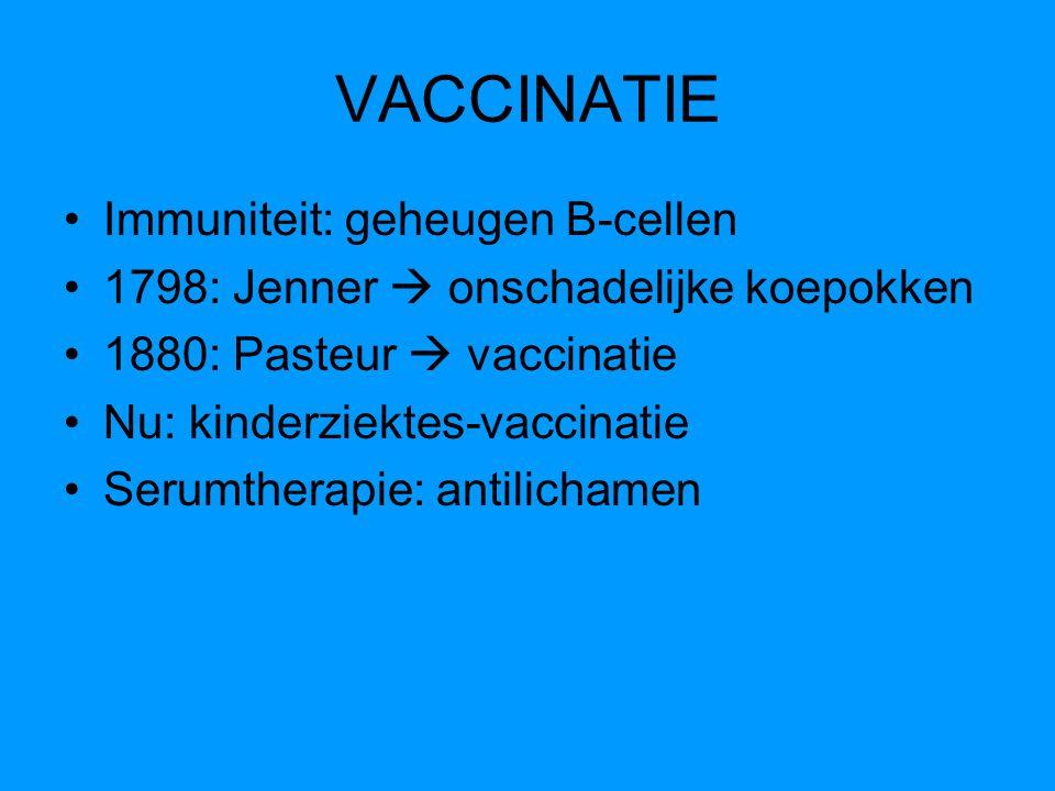 VACCINATIE Immuniteit: geheugen B-cellen
