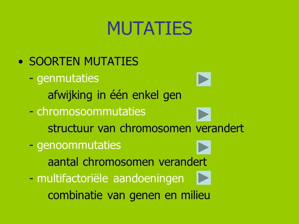 MUTATIES SOORTEN MUTATIES - genmutaties afwijking in één enkel gen