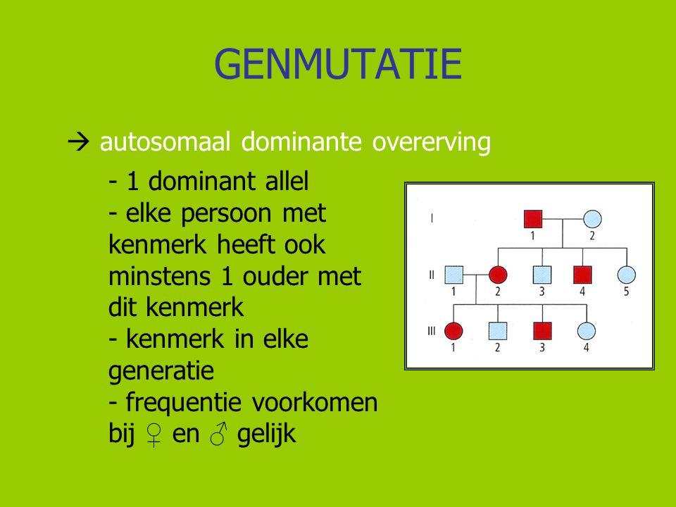 GENMUTATIE  autosomaal dominante overerving