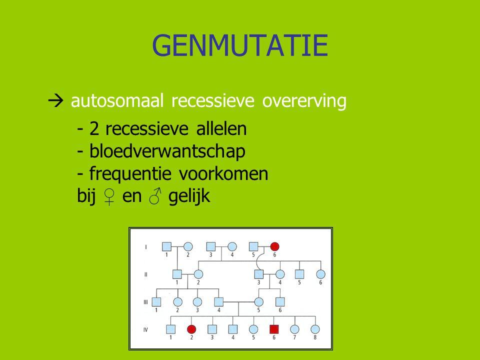 GENMUTATIE  autosomaal recessieve overerving