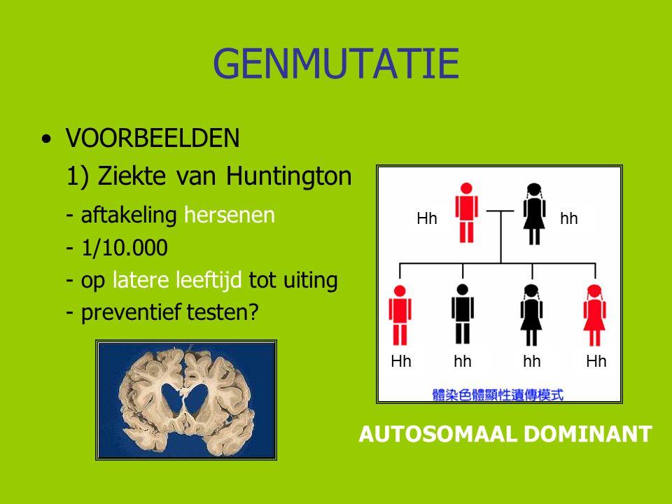 GENMUTATIE VOORBEELDEN 1) Ziekte van Huntington - aftakeling hersenen