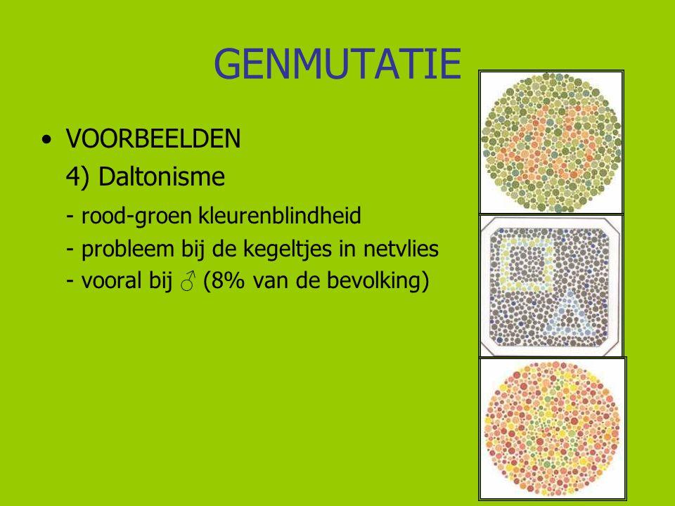 GENMUTATIE VOORBEELDEN 4) Daltonisme - rood-groen kleurenblindheid