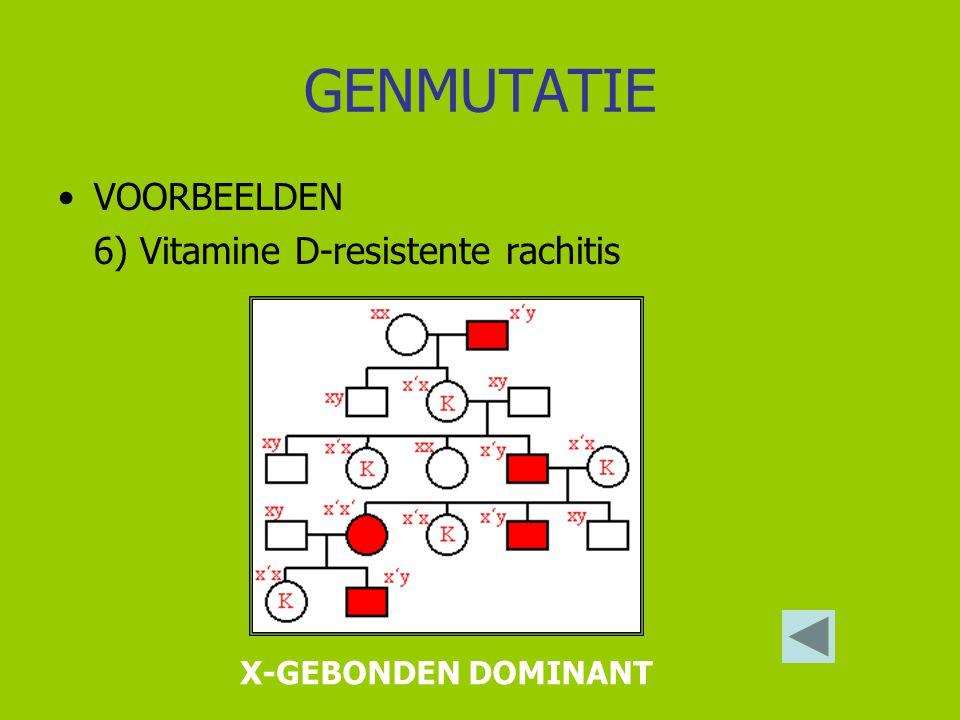 GENMUTATIE VOORBEELDEN 6) Vitamine D-resistente rachitis
