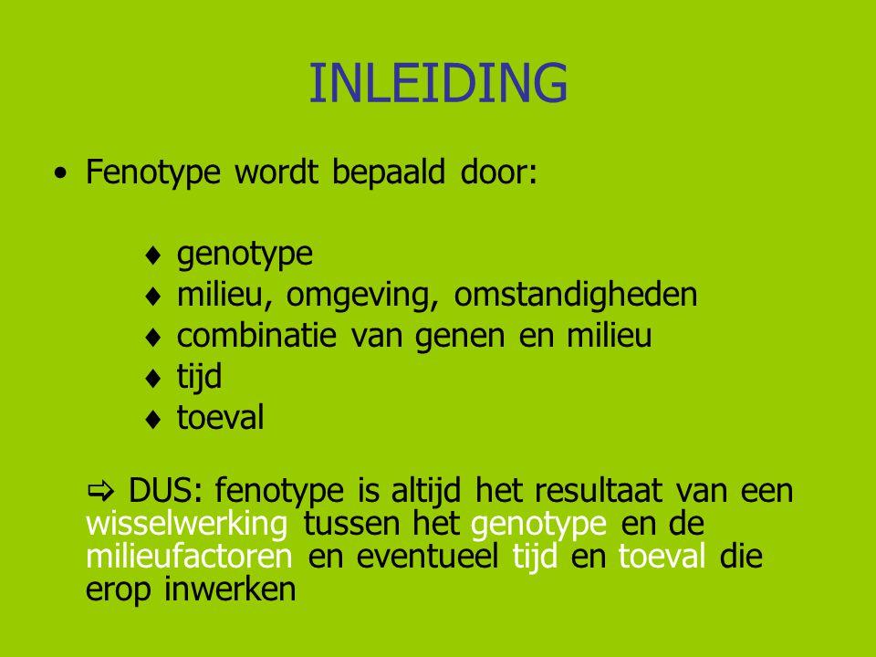 INLEIDING Fenotype wordt bepaald door:  genotype