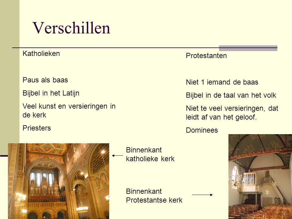 Verschillen Katholieken Protestanten Paus als baas