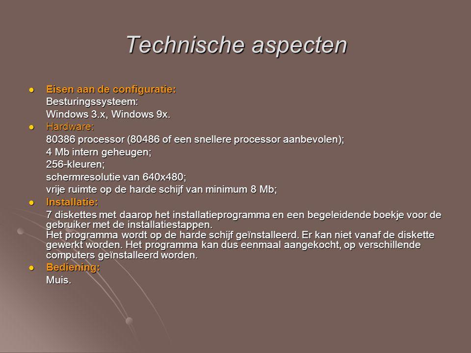 Technische aspecten Eisen aan de configuratie: Besturingssysteem: