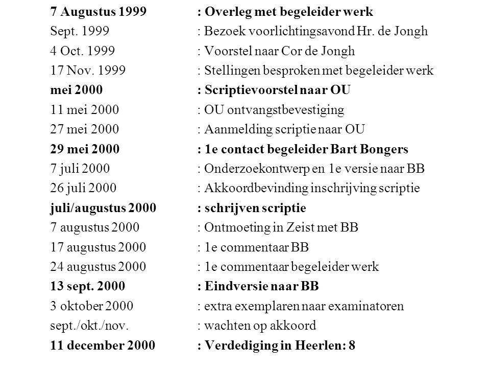 7 Augustus 1999 : Overleg met begeleider werk