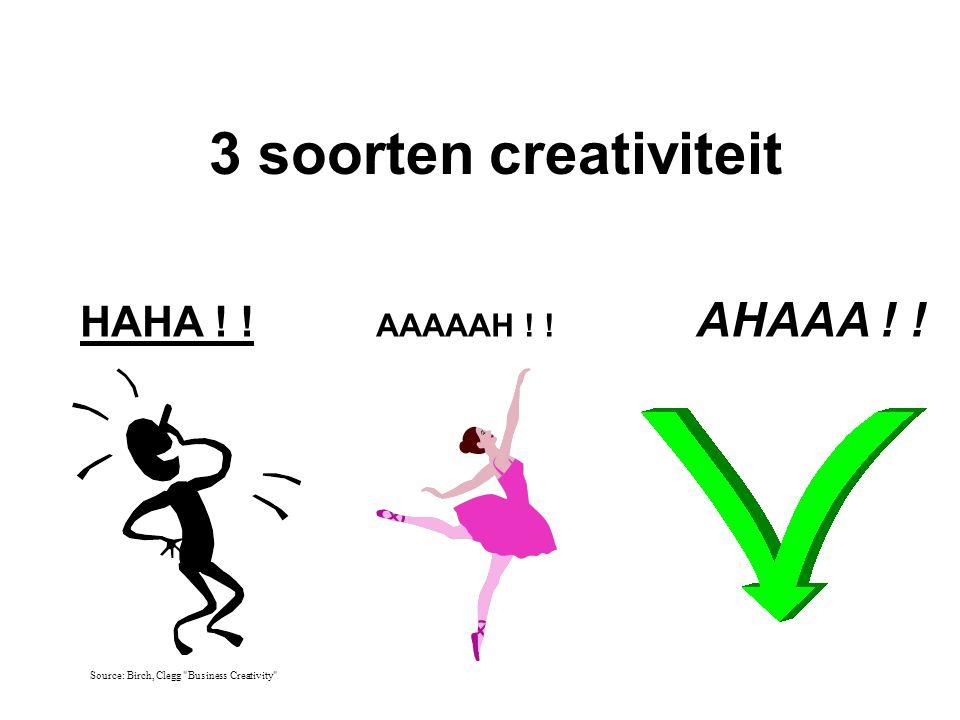 3 soorten creativiteit HAHA ! ! AAAAAH ! ! AHAAA ! !