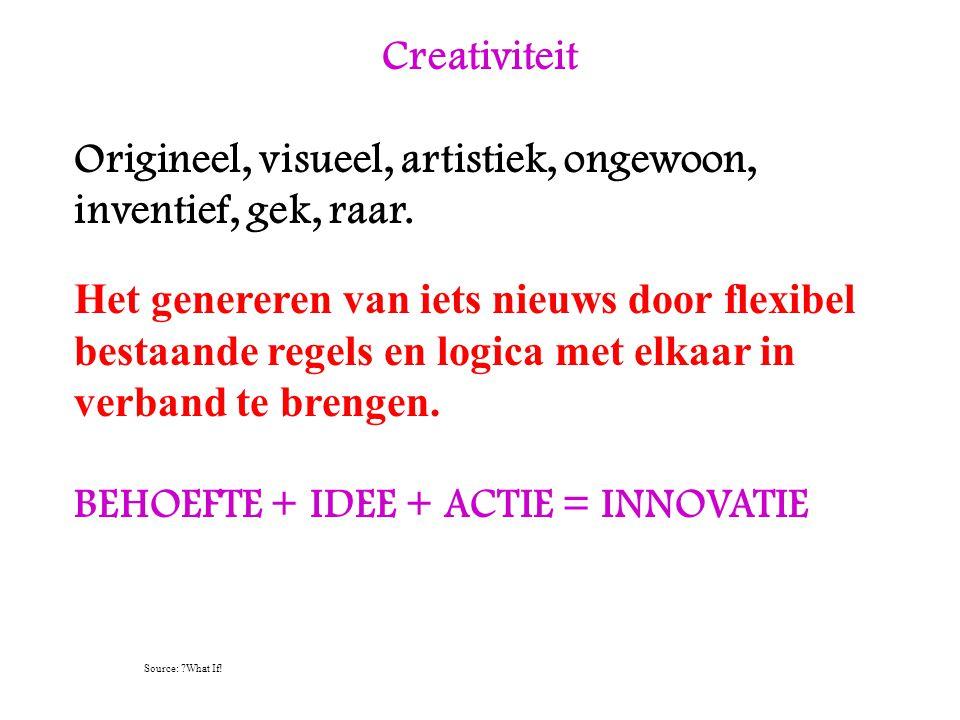 Origineel, visueel, artistiek, ongewoon, inventief, gek, raar.