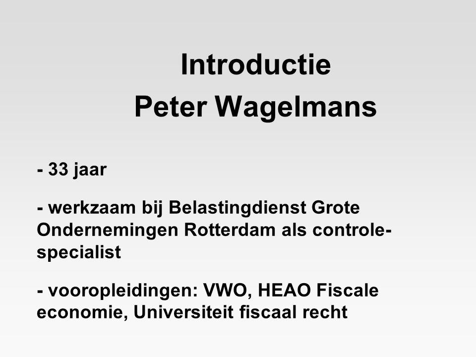 Introductie Peter Wagelmans