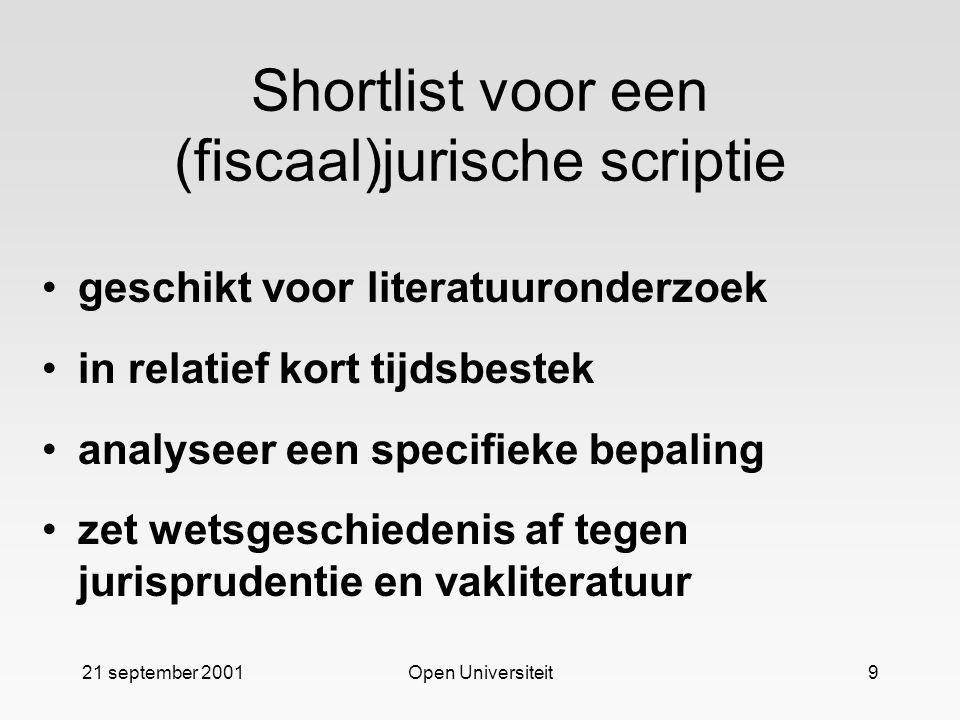 Shortlist voor een (fiscaal)jurische scriptie