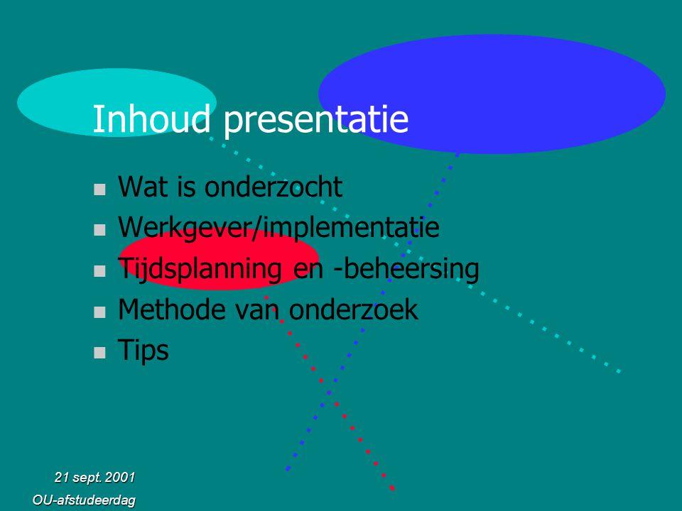 Inhoud presentatie Wat is onderzocht Werkgever/implementatie