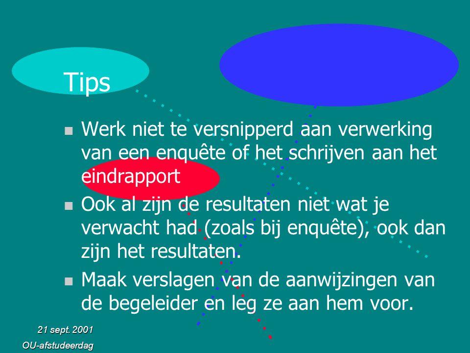 Tips Werk niet te versnipperd aan verwerking van een enquête of het schrijven aan het eindrapport.