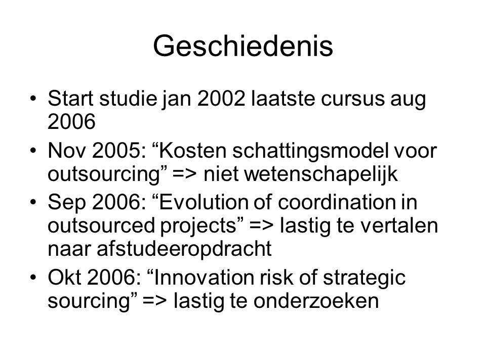 Geschiedenis Start studie jan 2002 laatste cursus aug 2006