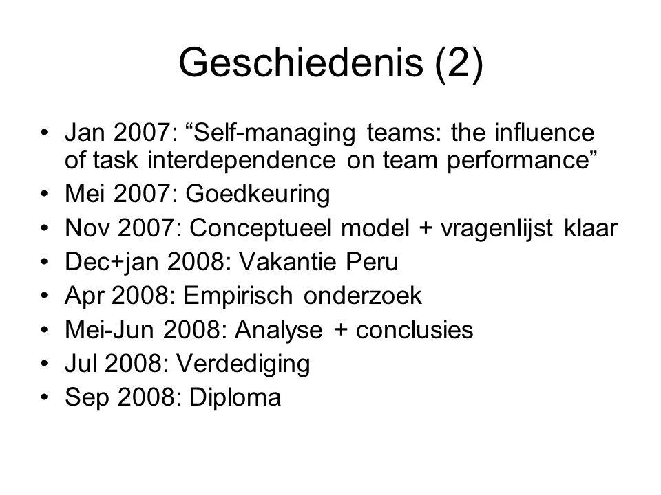 Geschiedenis (2) Jan 2007: Self-managing teams: the influence of task interdependence on team performance
