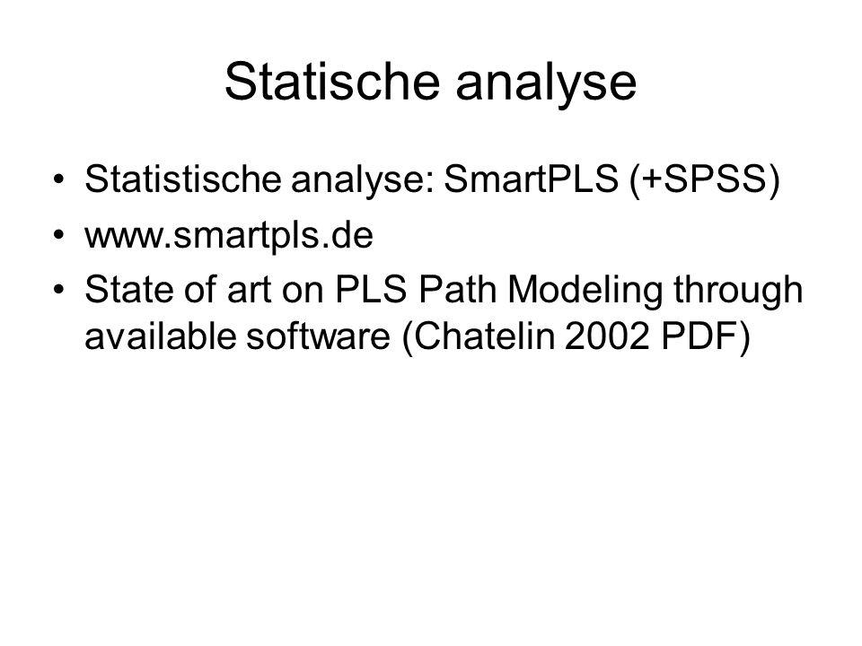 Statische analyse Statistische analyse: SmartPLS (+SPSS)