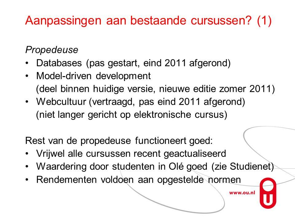 Aanpassingen aan bestaande cursussen (1)