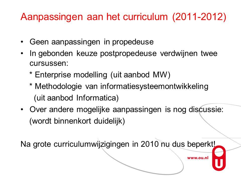 Aanpassingen aan het curriculum (2011-2012)