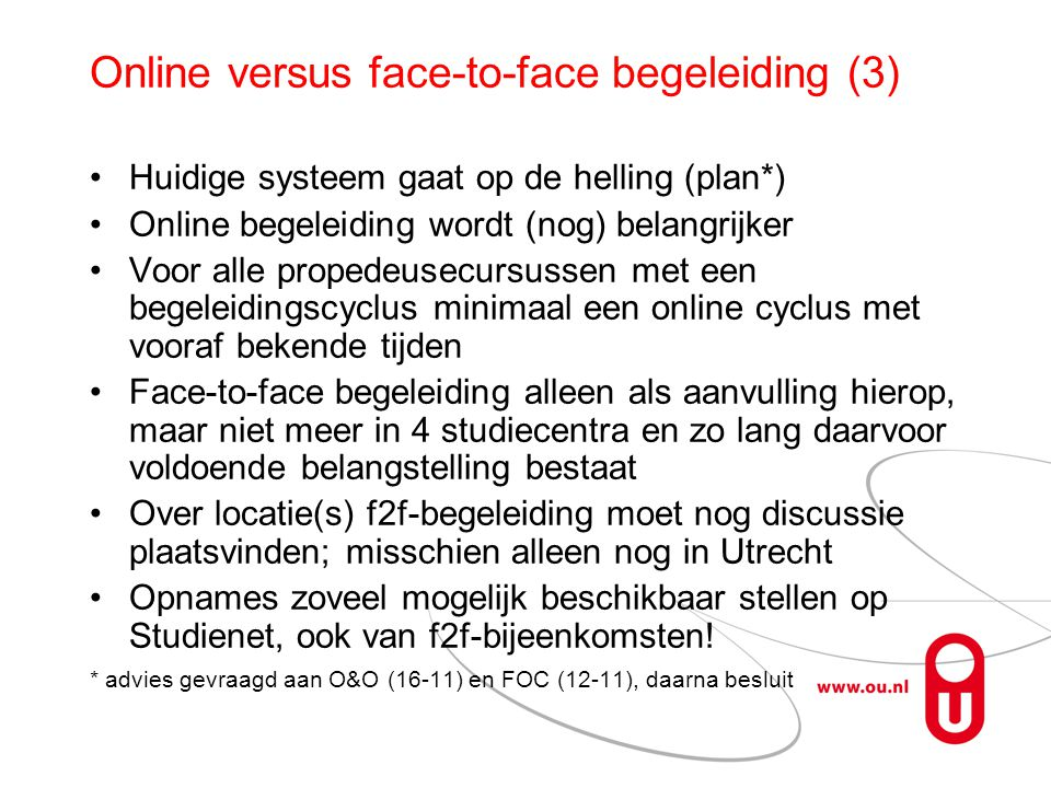 Online versus face-to-face begeleiding (3)