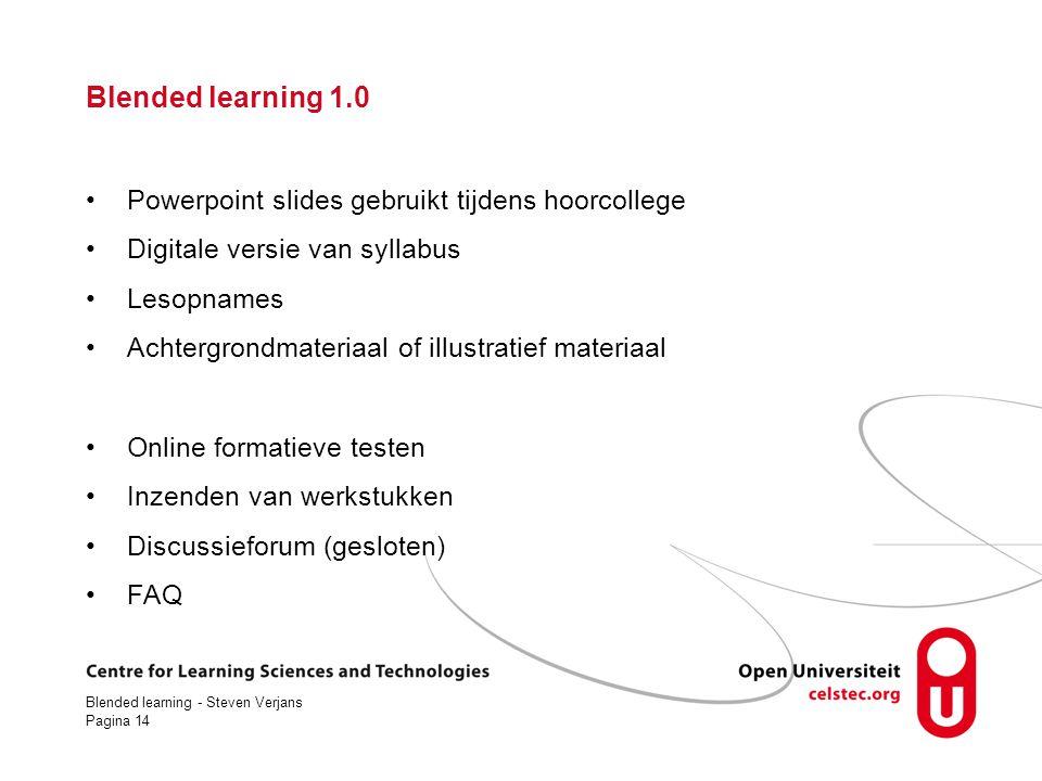Blended learning 1.0 Powerpoint slides gebruikt tijdens hoorcollege