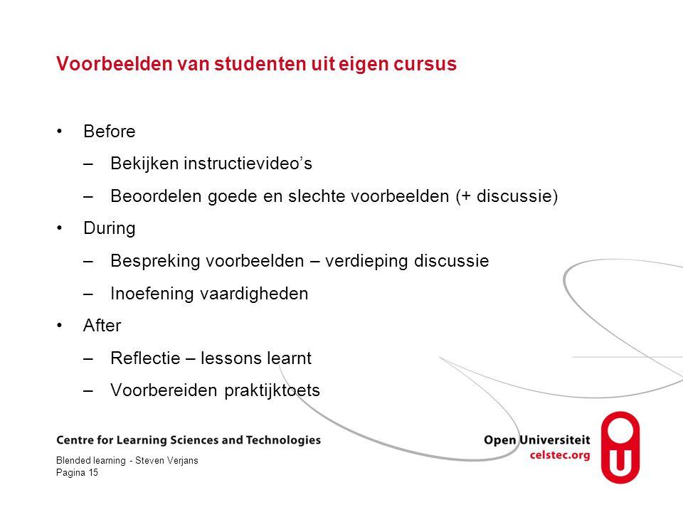 Voorbeelden van studenten uit eigen cursus