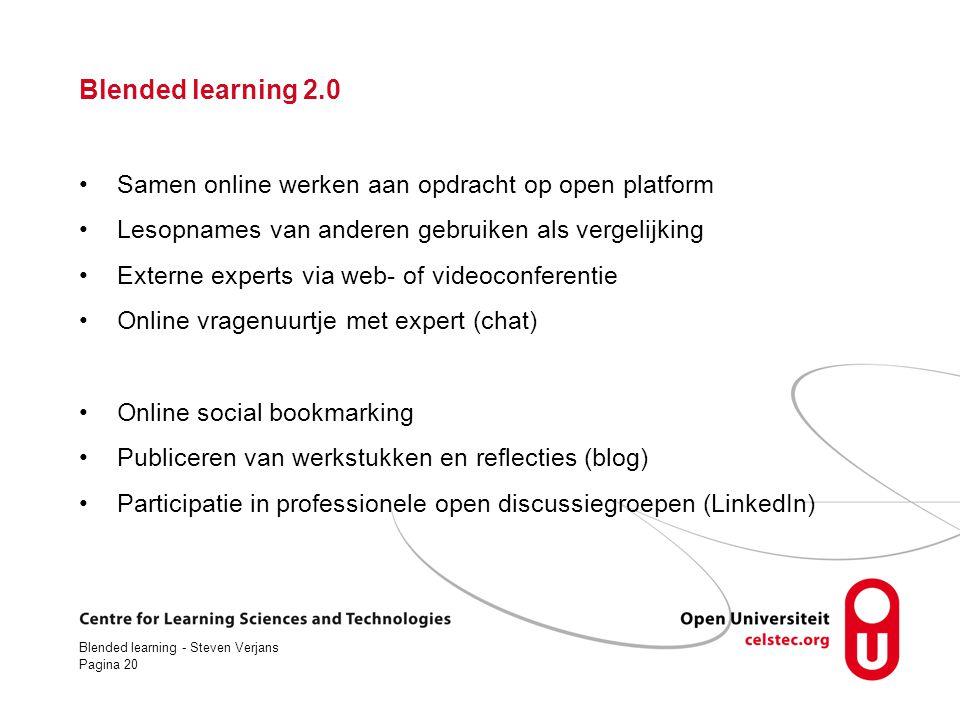 Blended learning 2.0 Samen online werken aan opdracht op open platform