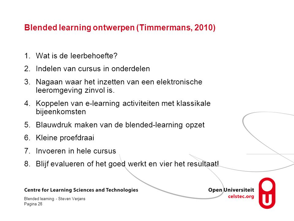 Blended learning ontwerpen (Timmermans, 2010)