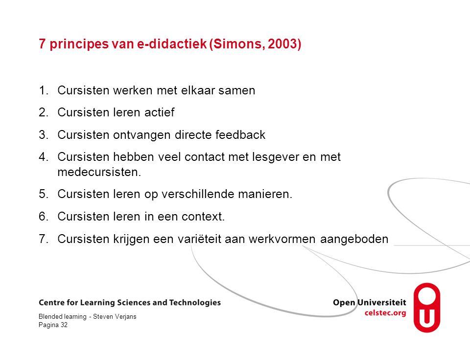 7 principes van e-didactiek (Simons, 2003)