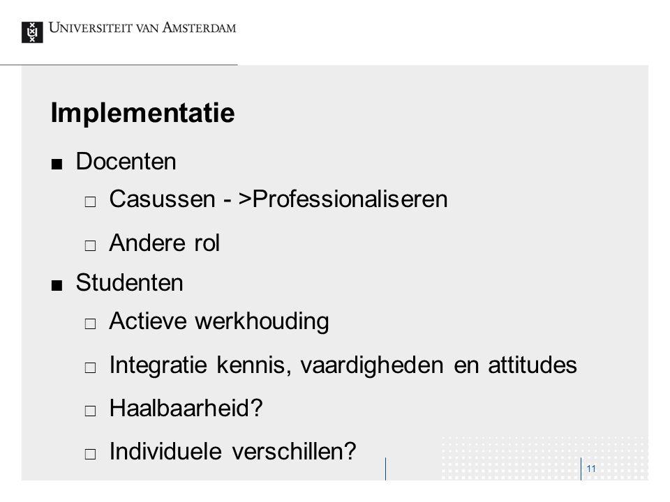 Implementatie Docenten Casussen - >Professionaliseren Andere rol