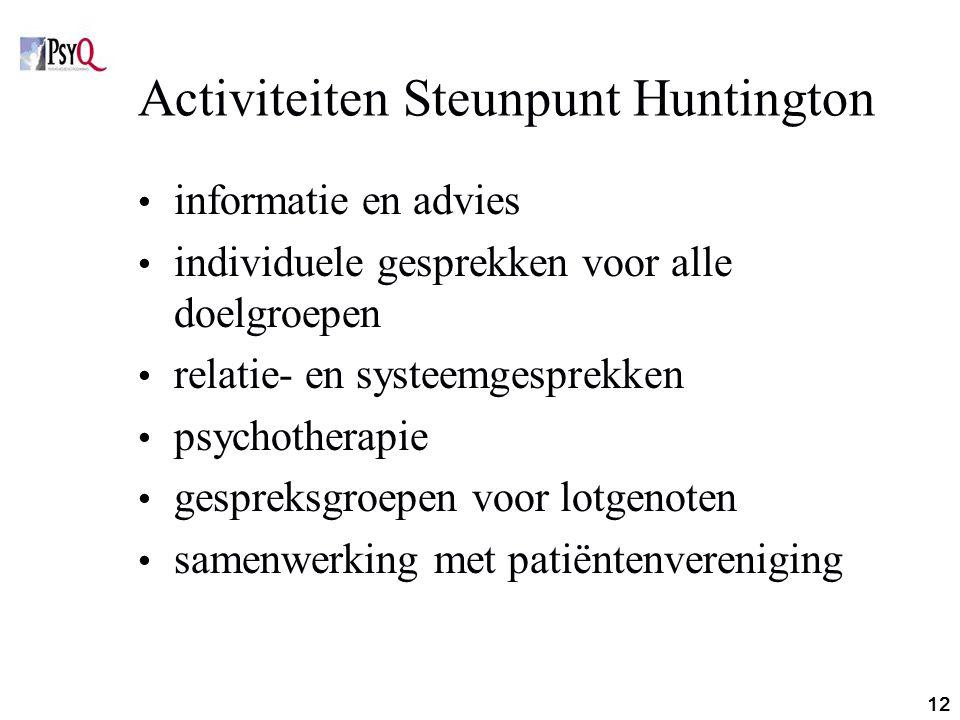 Activiteiten Steunpunt Huntington