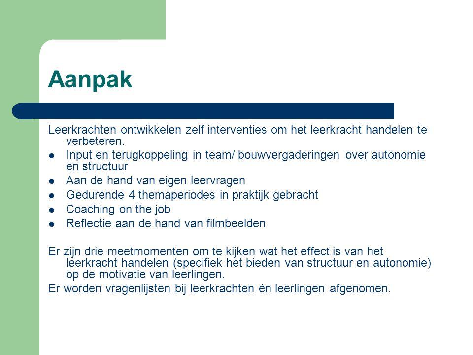Aanpak Leerkrachten ontwikkelen zelf interventies om het leerkracht handelen te verbeteren.