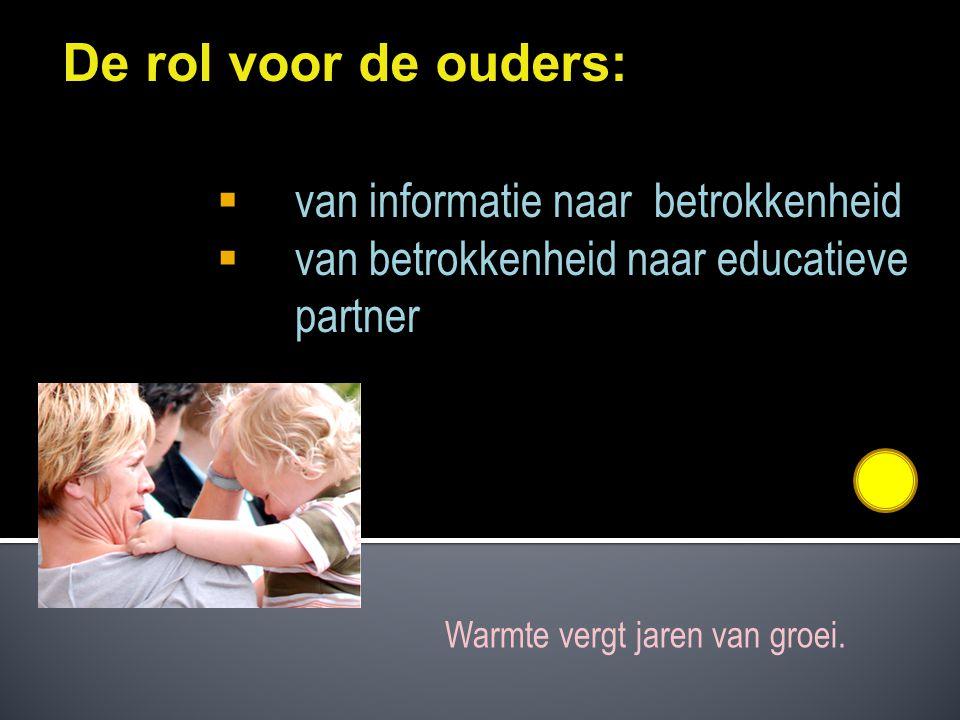 De rol voor de ouders: van informatie naar betrokkenheid
