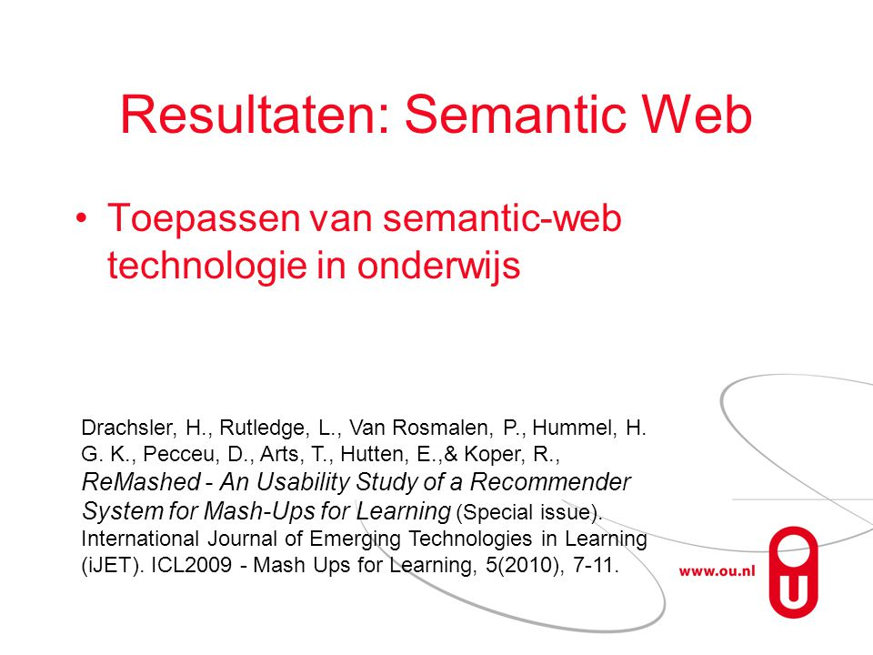 Resultaten: Semantic Web